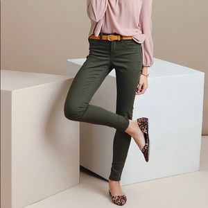 J. Crew Toothpick Jean in Olive Green